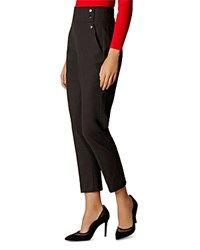 Karen Millen Button Detail Cropped Pants Black