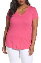 Sejour Plus Size Women's Short Sleeve V Neck Tee Pink Rouge