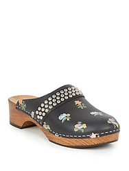 Saint Laurent Studded Prairie Print Leather Clog Sandals Black