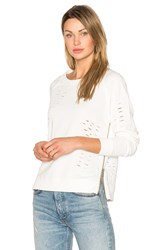 Central Park West Savannah Distressed Sweater White