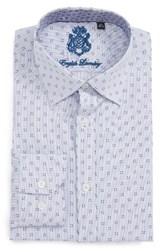 English Laundry Men's Big And Tall Trim Fit Geometric Dress Shirt Navy