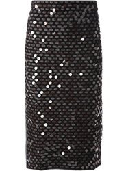 Cedric Charlier Knitted Sequin Embroidered Skirt Grey