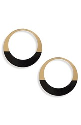 Natasha Enameled Hoop Earrings Gold Black