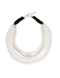 Design Lab Lord And Taylor Crystal Accented Faux Pearl Layered Necklace Gold