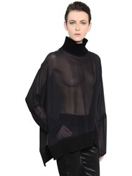 Ann Demeulemeester Oversized Silk Georgette And Knit Top