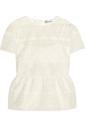 Red Valentino Redvalentino Crocheted Lace Peplum Top White