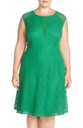 Plus Size Women's London Times 'Feather' Lace Fit And Flare Dress Green