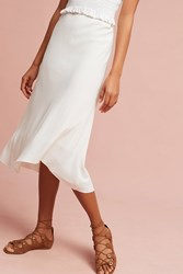 Anthropologie Mia Silk Skirt Ivory
