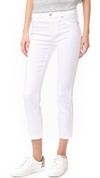 7 For All Mankind Roxanne Ankle Jeans With Raw Hem White