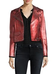Iro Axelle Distressed Leather Jacket Red