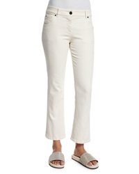Brunello Cucinelli Cropped Flare Leg Denim Jeans Cream Ivory