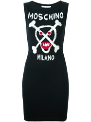 Moschino Skull Intarsia Knitted Dress Black