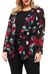 Evans Plus Size Women's Floral Kimono Jacket Dark Multi