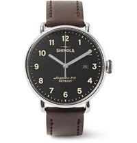 Shinola The Canfield 43Mm Stainless Steel And Leather Watch Chocolate