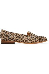 Dieppa Restrepo Dandy Leopard Print Suede Loafers Animal Print