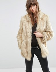 Asos Jacket In Vintage Faux Fur Beige Cream