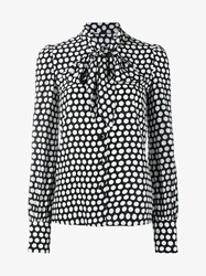 Saint Laurent Classic Polka Dot Print Silk Shirt With Pussybow Black White