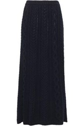 Valentino Cable Knit Wool And Cashmere Blend Wrap Maxi Skirt Midnight Blue