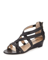 Neiman Marcus Wisteria Strappy Leather Wedge Sandal Black