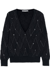Thakoon Embellished Silk Trimmed Wool Blend Sweater Black