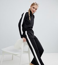 Monki Co Ord Side Stripe Wide Leg Joggers Black
