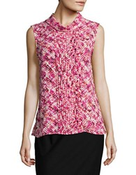 Karl Lagerfeld Pintucked Floral Blouse Hot Pink