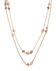 Crislu Blush Cubic Zirconia 18K Rose Gold And Sterling Silver Double Layer Necklace