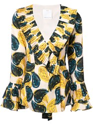 C Meo Collective Paisley Ruffle Blouse Yellow And Orange