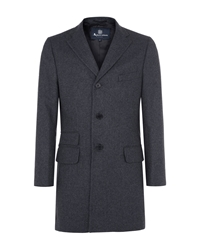 Aquascutum London Piccadilly Single Breasted Overcoat Grey