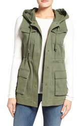 Matty M Women's Hooded Military Vest Olive