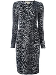Michael Michael Kors Leopard Print Dress Grey