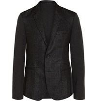 Wooyoungmi Slim Fit Panelled Checked Wool Blend Blazer Black