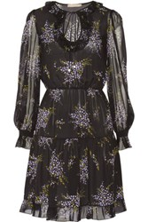 Michael Kors Collection Ruffled Floral Print Silk Georgette Dress Black