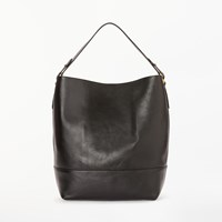 John Lewis Sawyer Leather Large Contrast Colour Tote Bag Black