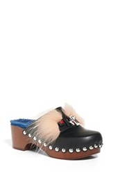 Fendi Women's Faces Genuine Fox Fur And Shearling Clog