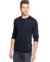 Club Room Big And Tall Solid Merino Blend Crew Neck Sweater Navy Blue
