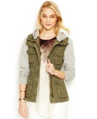 Rachel Rachel Roy Knit Sleeve Cargo Jacket Green