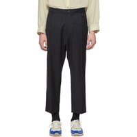 Studio Nicholson Navy Tapered Double Pleat Trousers