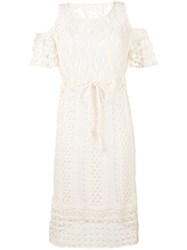 See By Chloe Crocheted Cold Shoulder Dress Women Cotton S Nude Neutrals