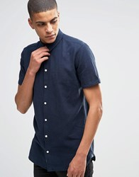 Minimum Linen Shirt With Short Sleeves In Slim Fit Navy