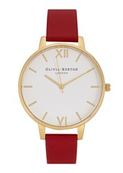 Olivia Burton Big Dial Gold Plated Watch Red