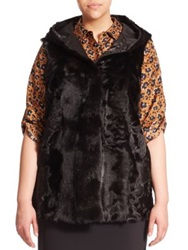 Marina Rinaldi Plus Size Reversible Fur Vest Black