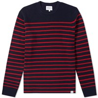 Norse Projects Verner Normandy Cotton Stripe Crew Knit Blue