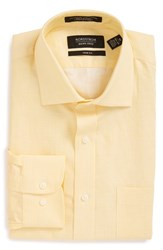 Nordstrom Men's Big And Tall Men's Shop Trim Fit Solid Linen And Cotton Dress Shirt Yellow Mimosa