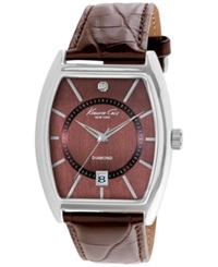 Kenneth Cole New York Men's Diamond Accent Brown Leather Strap Watch 48X38mm 10014805