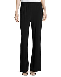 Caroline Rose Stretch Knit Wide Leg Pants Black Petite Women's