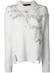 Jay Ahr Gold Tone Flowers Applique Pullover White