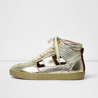 River Island Womens Gold Cut Out Hi Top Trainers