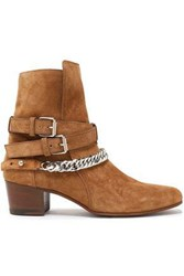 Amiri Woman Buckle Detailed Chain Trimmed Suede Ankle Boots Light Brown