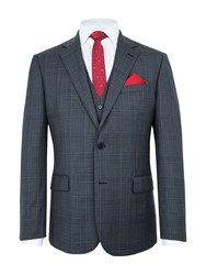 Paul Costelloe Men's Barnet Wool Check Suit Jacket Grey